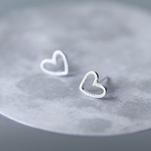 Tiny Hollow Heart Stud Earrings925 Sterling Silver